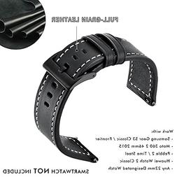 Quick Release Watch Band 22MM Full-Grain Leather Strap Alloy