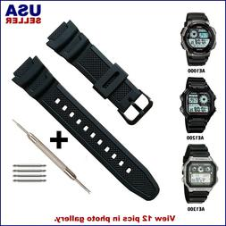 Replacement Watch Band Strap for fits CASIO AE1000, AE1200,