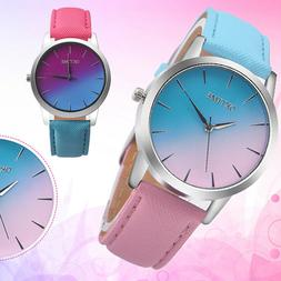 Retro Rainbow Womens Girls Watches Leather Band Alloy Analog