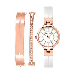 Anne Klein® Rose Goldtone Enamel Crystal Bangle Watch Se