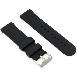 Mens Rubbertech Silicone Rubber Watchband Stainless Steel Bu