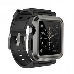 Rugged Protective 42mm Gray Case w Strap Band Black Smart fo