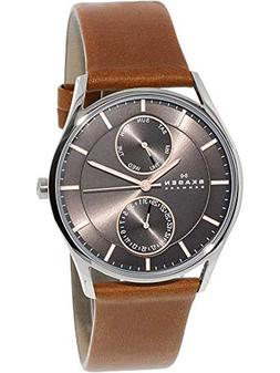 Skagen Men's Saddle Leather Multifunction Watch with Rose Go