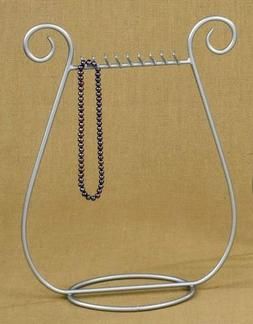 Silver satin nickel finish JEWELRY harp NECKLACE RACK stand
