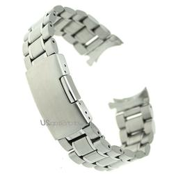 Silver Stainless Steel Watch Band Curved End Solid Links Wri