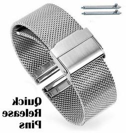 Silver Steel Adjustable Mesh Bracelet Watch Band Strap Doubl
