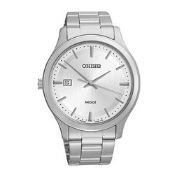 Seiko Mens Silver-Tone Dial Stainless Steel Sport Watch SUR0