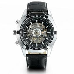 Skeleton Dial Automatic Mechanical Watches Men's Black Leath
