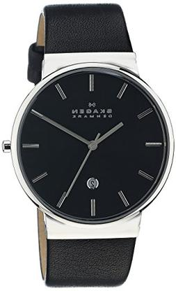 Skagen Men's 'Ancher' Quartz Stainless Steel and Leather Cas