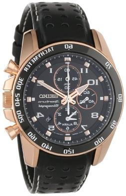 """Seiko Men's SNAE80 """"Sportura"""" Rose Gold Ion-Plated Stainless"""