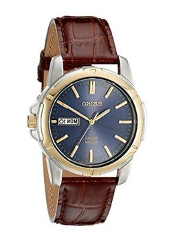 Seiko Men's SNE102 Stainless Steel Solar Watch with Brown Le