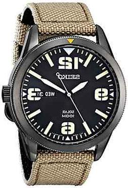 Seiko Men's SNE331 Sport Solar Black Stainless Steel Watch w