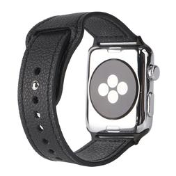 Soft Black Leather Band For Apple iWatch 1234 Nike Hermes Ed