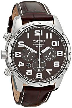 Seiko Men's SSC227 Stainless Steel Solar Watch with Brown Le