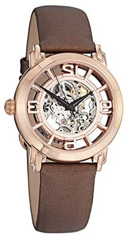 Stührling Womens Rose Gold-Tone Skeleton Automatic Watch