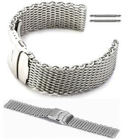 Stainless Steel Shark Mesh Bracelet Watch Band Strap Double