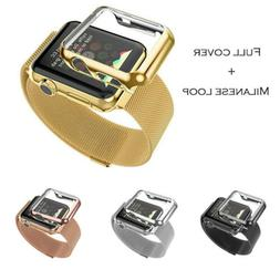 Stainless Steel Strap Watch Band+Adapter+Case Cover for Appl