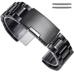 Steel Bracelet 19mm 21mm 23mm Black Metal Replacement Watch