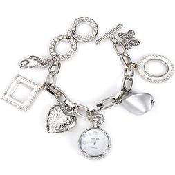ELEOPTION Stylish Quartz Watch with Round Dial and Heart But