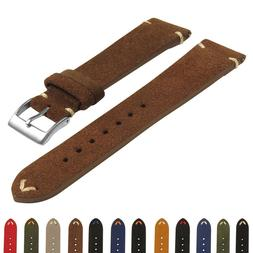 StrapsCo Suede Vintage Hand-Stitched Leather Watch Band - Qu