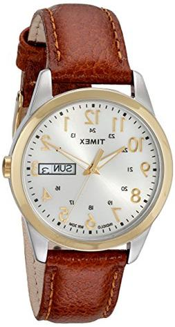 Timex Men's T2N105 Elevated Classics Dress Brown Leather Str