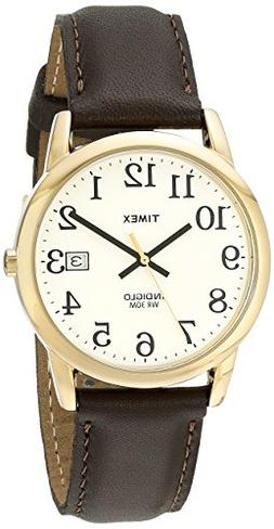 Timex Men's T2N369 Easy Reader Brown Leather Strap Watch