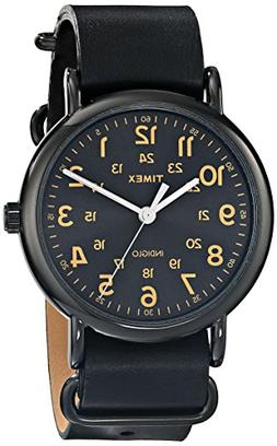 """Timex Unisex T2P4949J """"Weekender"""" Watch with Black Leather B"""
