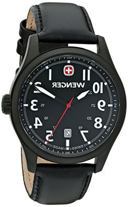 Wenger Men's TerraGraph Black Dial Black Leather PVD Coating