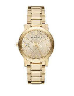Burberry Ladies Gold-Tone Watch with Hydraulic Stamp Dial