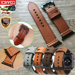 US Mens Genuine Leather Wrist iWatch Band Strap For Apple Wa