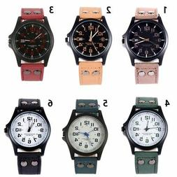 US Mens Sport Watches Army Military Leather Band Strap Quart