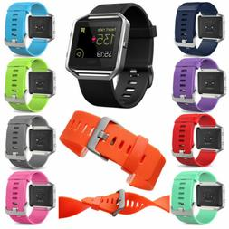 For Fitbit Blaze Silicone Metal Frame Replacement Sports Str