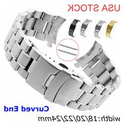 US Stainless Steel Watch Band Double-Lock Buckle Curved Ends