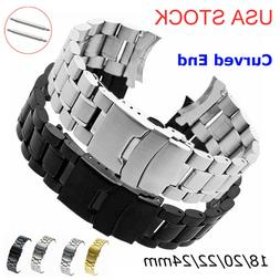 USA 18-24mm 316L Solid Stainless Steel Watch Band Curved End