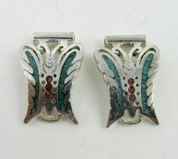 Vintage G&S 1984 Watch band Tips Coral/Turquoise Butterfly W