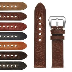 StrapsCo Vintage Washed Mens Thick Leather Watch Band - Quic