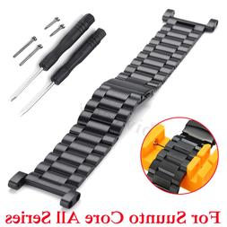 Watch Band Strap Black 24mm Stainless No Connector For Suunt
