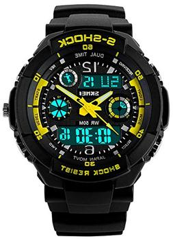 Fanmis Sports Watches Multifunction Dual Time Led Light Wate