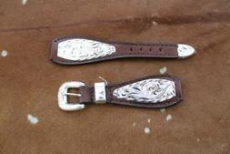 Western Cowboy Mens Leather Watch Band Silver Belted Rodeo D