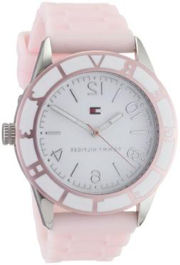 white dial pink silicone watch