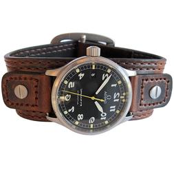 18mm 20mm Hadley-Roma Brown Leather Riveted Military Bund Cu