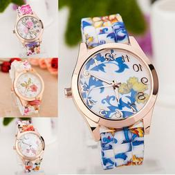 Women Girls Wrist Watch Silicone Band Printed Causal Flower
