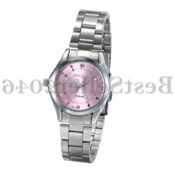 Women Ladies Pink Dial Dress Watches Waterproof Steel Band A