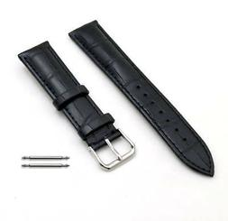Black Elegant Croco Genuine Leather Replacement Watch Band S