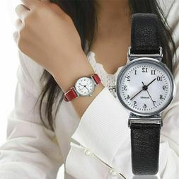 Women's Casual Quartz Leather Band Strap Watch Round Analog