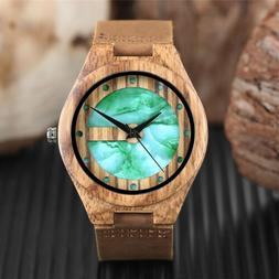 Wooden Watch Handmade Natural Wood Genuine Leather Band Quar