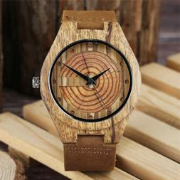 Wooden Watch Mens Genuine Leather Band Wood Bamboo Quartz Me