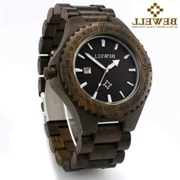 Bewell Wooden Watches for Men Ebony Wood Band Mens Wrist Wat