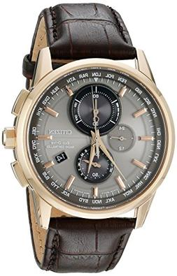 Men's Citizen Eco-Drive World Chronograph A-T Brown Leather