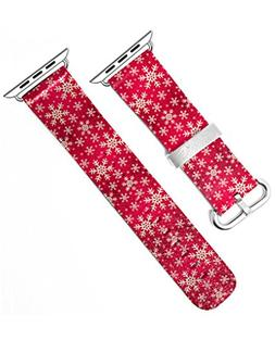 Xmas Gift Iwatch Band 38mm with Print of Red Snowflakes Patt